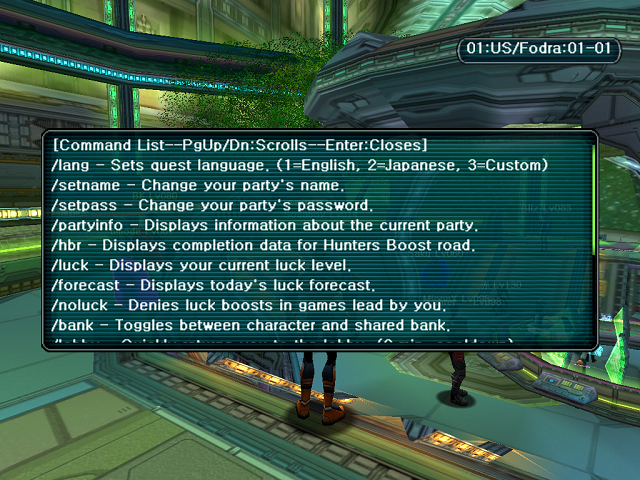 Phantasy Star Online - Ephinea - A List of Server Commands