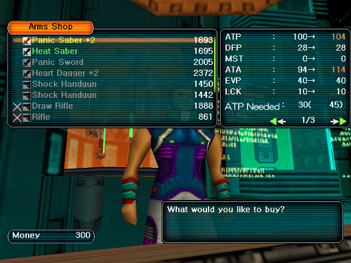 Phantasy Star Online - Shops - A HUcast browses the Arms shop's wares