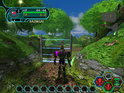Phantasy Star Online - Forest - A HUcast standing in front of a barrier.