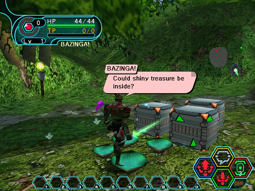 Phantasy Star Online - Ephinea - A HUcast gets ready to break a box for an item.