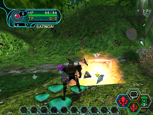 Phantasy Star Online - Ephinea - A HUcast destroys a box to get at the item within.