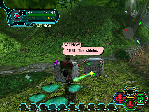 Phantasy Star Online - Ephinea - A HUcast discovers meseta inside of a recently destroyed box.