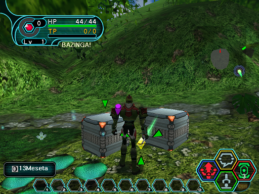 Phantasy Star Online - Ephinea - A HUcast prepares to pick up the discovered meseta.