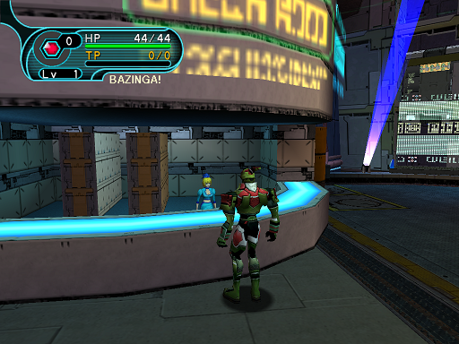 Phantasy Star Online - Pioneer 2 - A HUcast approaches the check room