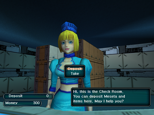 Phantasy Star Online - Check Room - A HUcast speaks to the teller at the Check Room