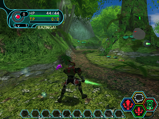 Phantasy Star Online - Forest - A HUcast performing part 1 of a 3 button combo.