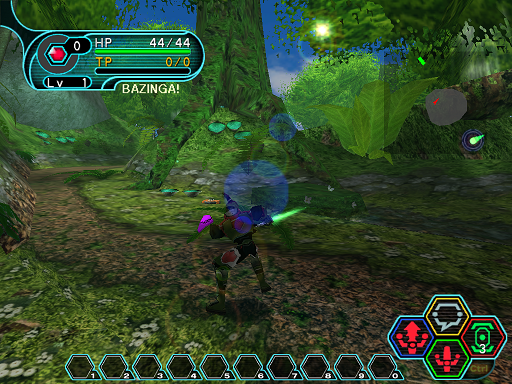 Phantasy Star Online - Forest - A HUcast performing part 2 of a 3 button combo.