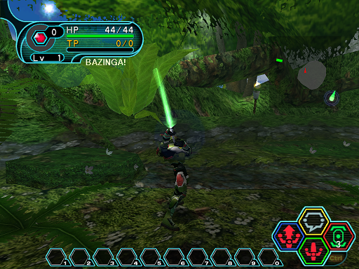 Phantasy Star Online - Forest - A HUcast performing part 3 of a 3 button combo.
