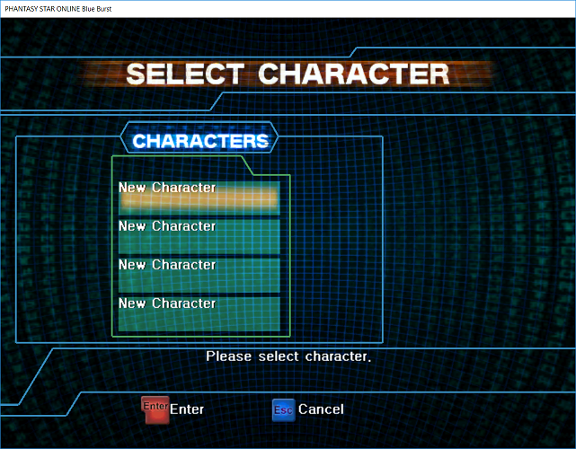 Phantasy Star Online - Ephinea - Character Selection
