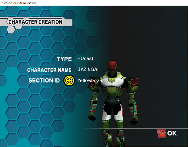 Phantasy Star Online - Ephinea - Finalizing A Character and Receiving A Section ID