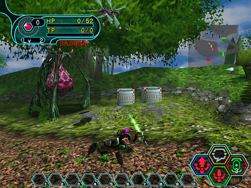 Phantasy Star Online - Forest - A HUcast defeated by Mothmants
