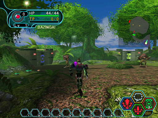 Phantasy Star Online - Forest - A HUcast has been spotted by a Booma.