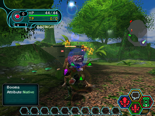 Phantasy Star Online - Forest - A HUcast attacking a Booma.