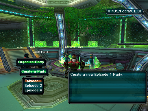 Phantasy Star Online - Lobby - A HUcast deciding which episode of the game he will play.