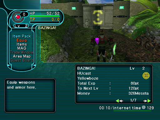 Phantasy Star Online - Forest - A HUcast accesses the Equip menu