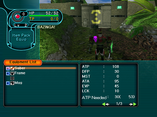 Phantasy Star Online - Forest - A HUcast selects his weapon slot in the Equip menu