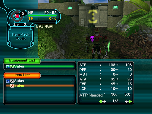 Phantasy Star Online - Forest - A HUcast compares similar weapons.
