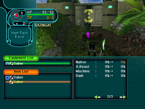 Phantasy Star Online - Forest - A HUcast discovers photon attributes on weapons.