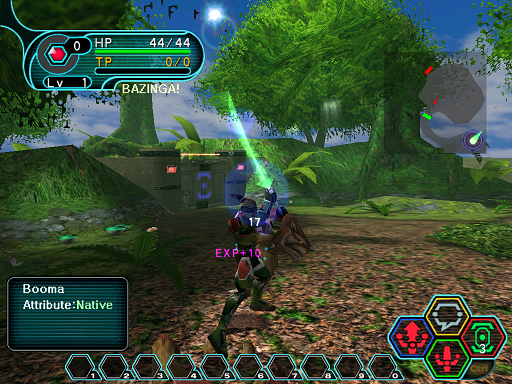Phantasy Star Online - Forest - A HUcast receiving experience from a defeated enemy.