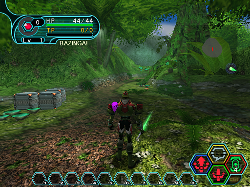 Phantasy Star Online - Forest - A HUcast arrives in the Forest after teleporting
