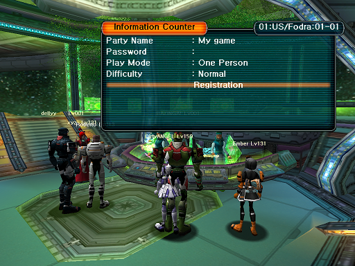 Phantasy Star Online - Lobby - A HUcast deciding on the parameters of the game he will create.