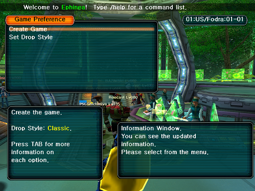 Phantasy Star Online - Lobby - A HUcast deciding on extra Ephinea parameters for the game he will create.