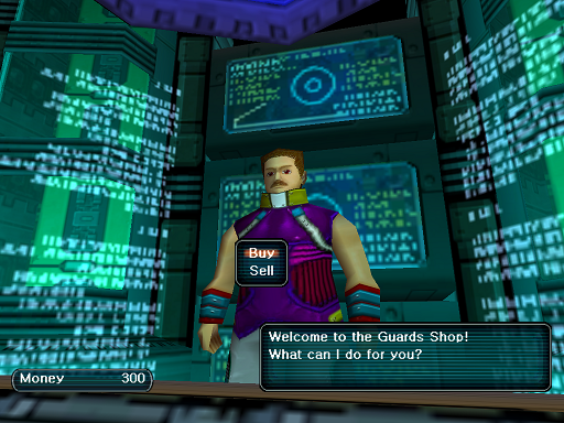Phantasy Star Online - Shops - A HUcast speaks to the Guards shop owner
