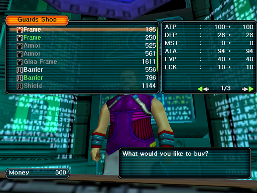 Phantasy Star Online - Shops - A HUcast browses the Guards shop wares