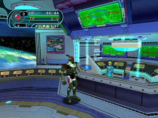 Phantasy Star Online - Hunter's Guild - A HUcast stands next to the guild counter