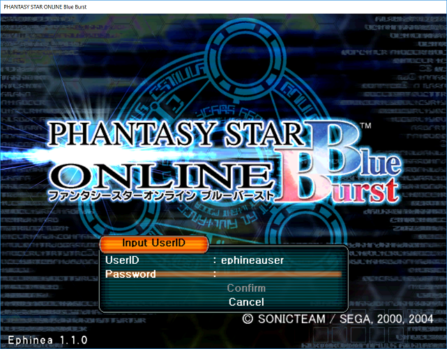 Phantasy Star Online - Ephinea - Inputting account username at the title screen
