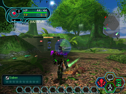 Phantasy Star Online - Forest - A HUcast standing on top of an item drop.