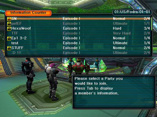 Phantasy Star Online - Lobby - A HUcast browses the game list.