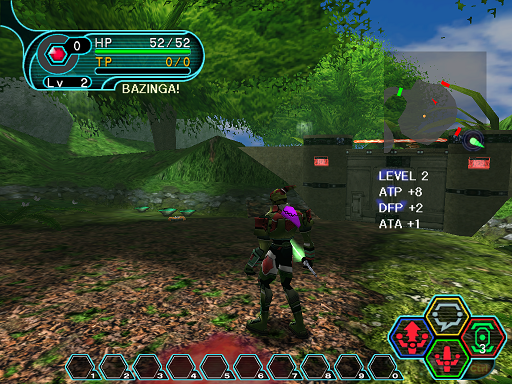 Phantasy Star Online - Forest - A HUcast leveling up.