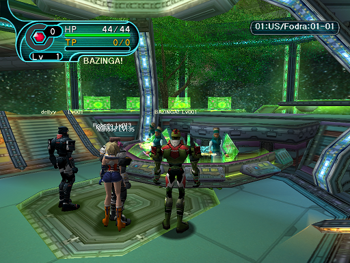 Phantasy Star Online - Lobby - A HUcast makes his way to the game counter.