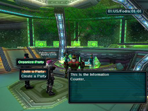 Phantasy Star Online - Lobby - A HUcast accesses the game counter menu.