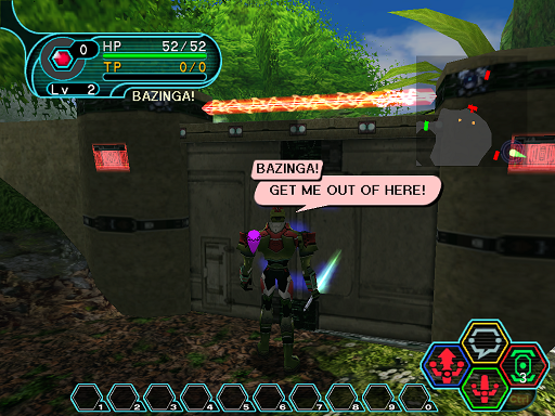 Phantasy Star Online - Forest - HUcast in front of locked door