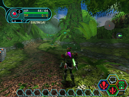 Phantasy Star Online - Forest - A HUcast notices the Mag floating over his shoulder.