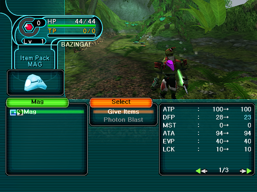 Phantasy Star Online - Forest - A HUcast prepares to feed his mag.