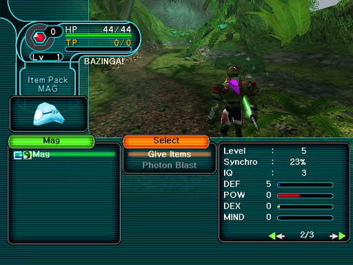 Phantasy Star Online - Forest - A HUcast feeds his Mag and notices the change of stats on his Mag.
