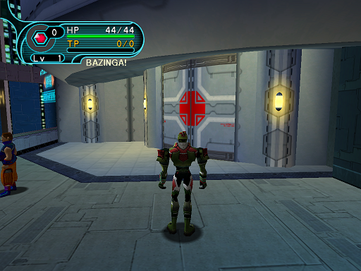 Phantasy Star Online - Pioneer 2 - A HUcast stands in front of the medical center.