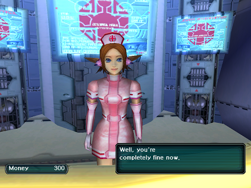 Phantasy Star Online - Medical Center - A HUcast speaks to the nurse at the medical center