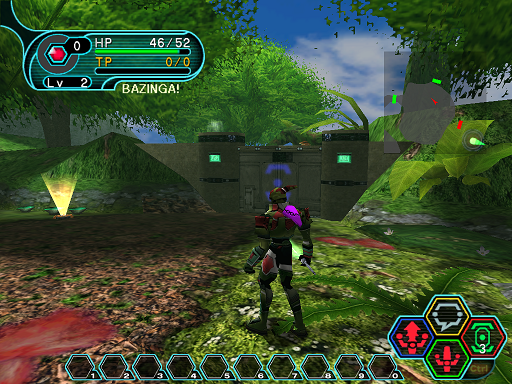 Phantasy Star Online - Forest - HUcast in front of unlocked door