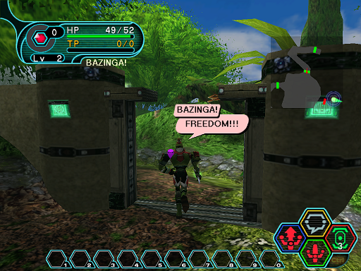 Phantasy Star Online - Forest - A HUcast rejoicing in his new found freedom.
