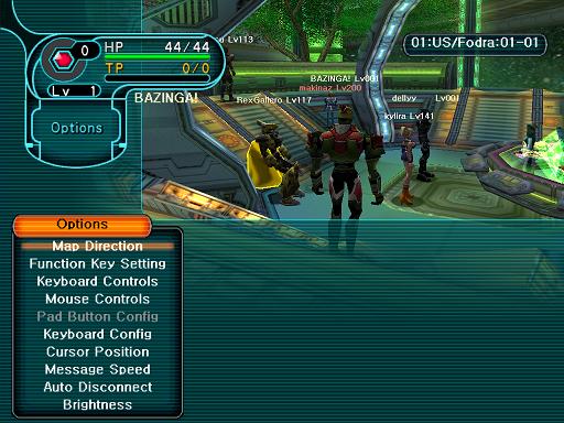 Phantasy Star Online - Lobby - A HUcast accesses the Options menu