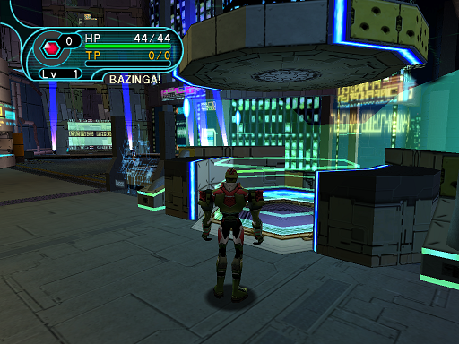 Phantasy Star Online - Pioneer 2 - A HUcast spots the teleport to the Principal's office