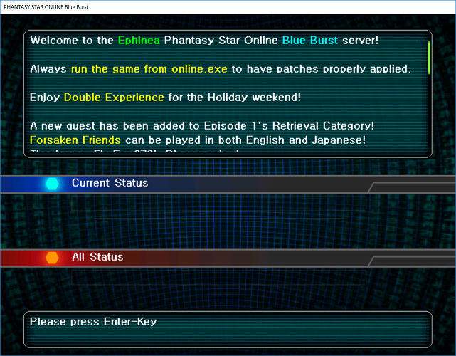 Phantasy Star Online - Ephinea - Connecting to the patch server.
