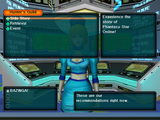 Phantasy Star Online - Hunter's Guild - A HUcast is deciding on the category of quest to take