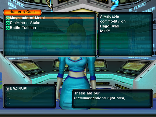 Phantasy Star Online - Hunter's Guild - A HUcast is browsing through the list of quests from his selected category