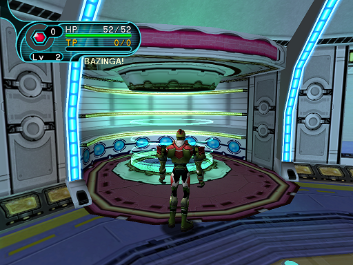Phantasy Star Online - Hunter's Guild - A HUcast standing in front of the teleporter that returns Hunters to the lobby