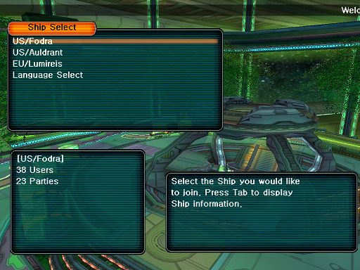 Phantasy Star Online - Ephinea - Selecting A Ship